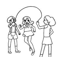 Coloriage de SAUT A LA CORDE - Coloriage - Coloriage GRATUIT - Coloriage RENTREE SCOLAIRE - Coloriage COUR DE RECREATION