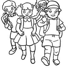 Coloriage d'ELEVES EN RANG - Coloriage - Coloriage GRATUIT - Coloriage RENTREE SCOLAIRE - Coloriage COUR DE RECREATION