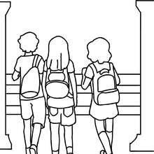 Coloriage d'ECOLIERS - Coloriage - Coloriage GRATUIT - Coloriage RENTREE SCOLAIRE - Coloriage COUR DE RECREATION