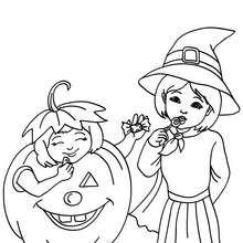 2 SORCIERES déguisées à colorier