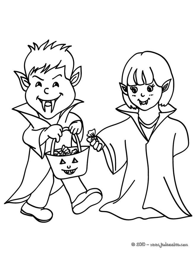 coloriages 2 enfants deguises en vampire. Black Bedroom Furniture Sets. Home Design Ideas