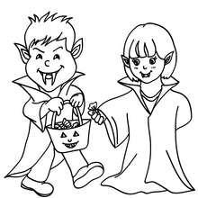 Coloriage d'Halloween : 2 enfants DEGUISES en VAMPIRE