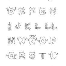 Coloriage Lettres CHAUVE-SOURIS