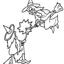 Coloriage d'Halloween : Coloriage Combat de SORCIERES