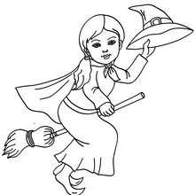 Jolie petite sorcière sur son balai