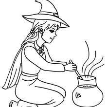 SORCIERE et sa potion à colorier