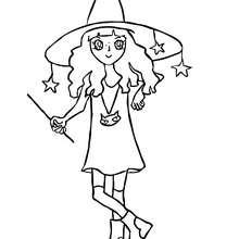 SORCIERE magicienne à colorier - Coloriage - Coloriage FETES - Coloriage HALLOWEEN - Coloriage SORCIERE HALLOWEEN