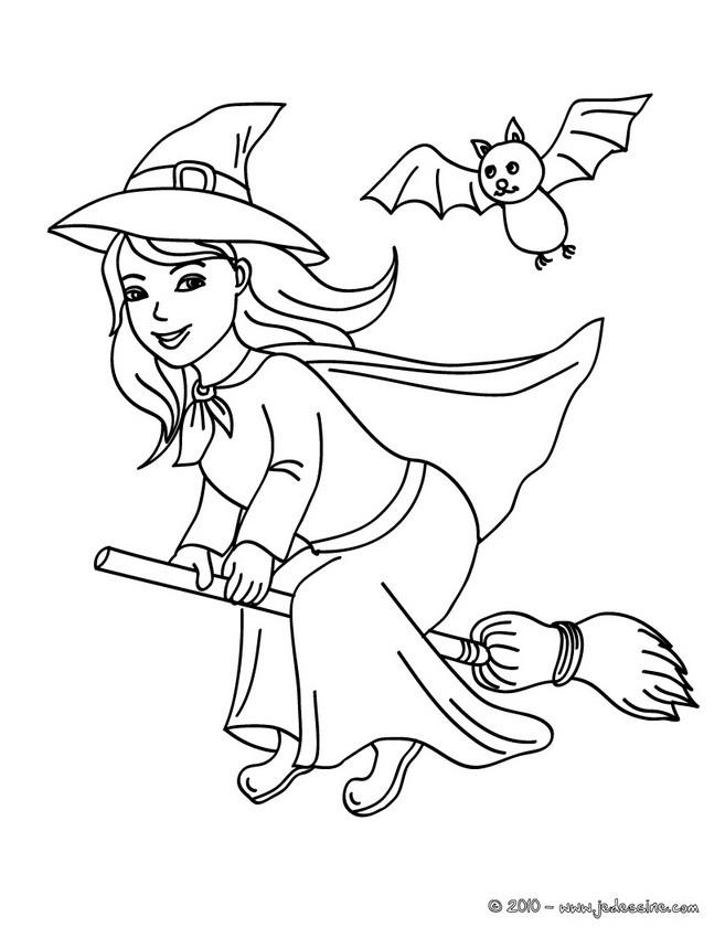 joyeux halloween coloriage sorciere sur son balai colorier coloriage coloriage fetes coloriage halloween coloriage - Dessin De Sorciere