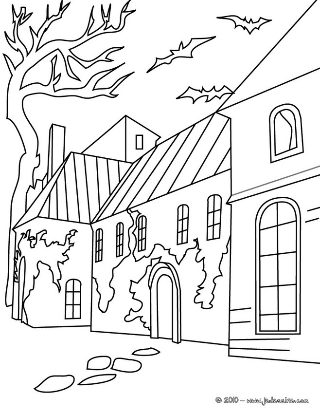 Coloriage d'Halloween : Coloriage Maison HALLOWEEN