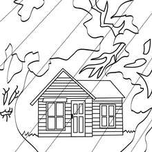 Petite MAISON HANTEE  colorier - Coloriage - Coloriage FETES - Coloriage HALLOWEEN - Coloriage CHATEAU HALLOWEEN