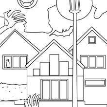 Coloriage d'Halloween : Coloriage en ligne maison HANTEE