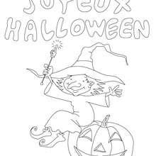 Joyeux Halloween coloriage - Coloriage - Coloriage FETES - Coloriage HALLOWEEN - Coloriage SORCIERE HALLOWEEN