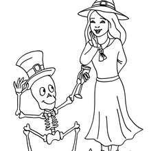 Squelette et SORCIERE à colorier