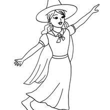 Jeune SORCIERE  colorier - Coloriage - Coloriage FETES - Coloriage HALLOWEEN - Coloriage SORCIERE HALLOWEEN