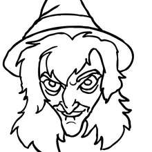 Horrible SORCIERE  colorier - Coloriage - Coloriage FETES - Coloriage HALLOWEEN - Coloriage SORCIERE HALLOWEEN