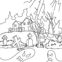 Coloriage d'Halloween : COloriage CHATEAU HANTE
