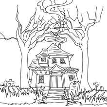 Coloriage MAISON HANTEE - Coloriage - Coloriage FETES - Coloriage HALLOWEEN - Coloriage CHATEAU HALLOWEEN