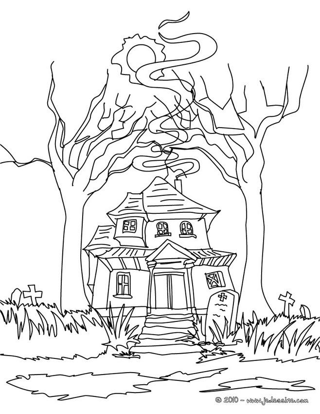 Coloriages coloriage maison hantee - Dessin de maison hantee ...