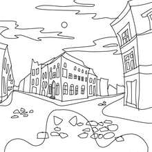VILLE HANTEE  colorier - Coloriage - Coloriage FETES - Coloriage HALLOWEEN - Coloriage CHATEAU HALLOWEEN