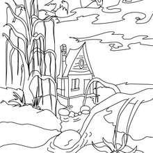 Maison HANTEE  colorier - Coloriage - Coloriage FETES - Coloriage HALLOWEEN - Coloriage CHATEAU HALLOWEEN