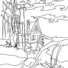 Coloriage d'Halloween : Maison HANTEE à colorier
