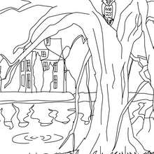 Coloriage d'Halloween : CHATEAU HANTE à colorier