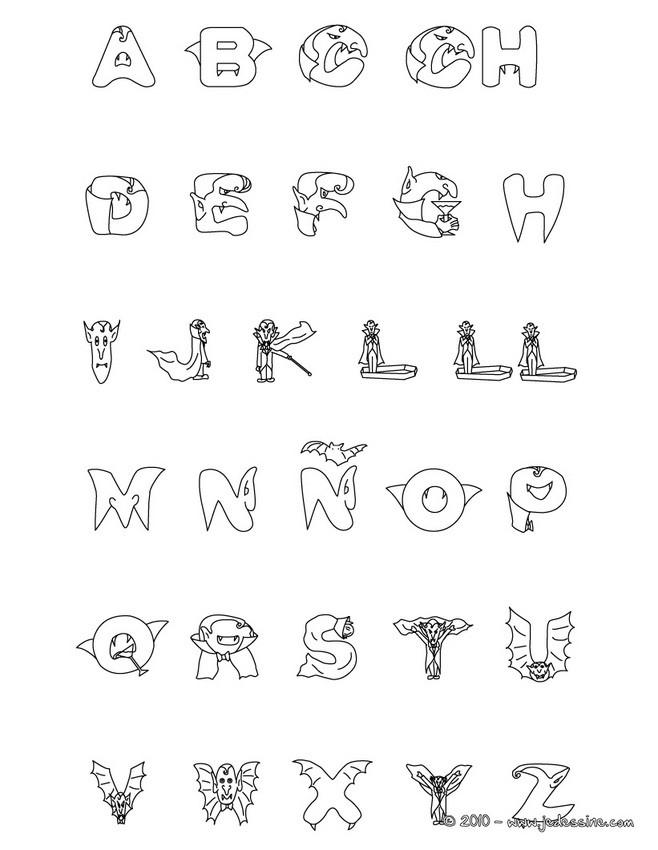 Coloriages alphabet vampire u00e0 colorier - fr.hellokids.com