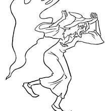 SORCIERE et son fantôme - Coloriage - Coloriage FETES - Coloriage HALLOWEEN - Coloriage SORCIERE HALLOWEEN