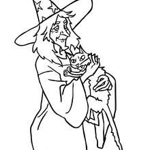 Coloriage d'Halloween : CHAT d'HALLOWEEN à colorier