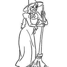 SORCIERE et son BALAI - Coloriage - Coloriage FETES - Coloriage HALLOWEEN - Coloriage SORCIERE HALLOWEEN