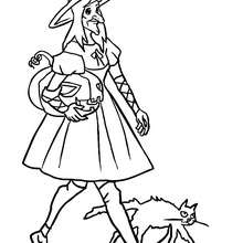CHAT NOIR ET SORCIERE  colorier - Coloriage - Coloriage FETES - Coloriage HALLOWEEN - Coloriage SORCIERE HALLOWEEN