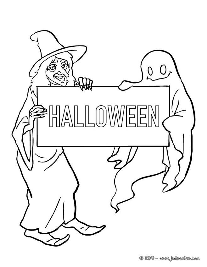 Coloriage d'Halloween : HALLOWWEN à colorier