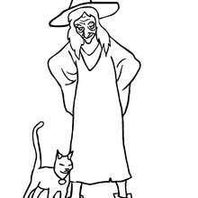 Coloriage CHAT NOIR - Coloriage - Coloriage FETES - Coloriage HALLOWEEN - Coloriage SORCIERE HALLOWEEN