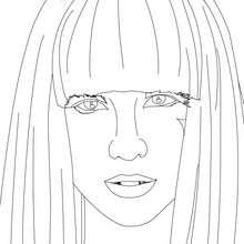 Portrait LADY GAGA - Coloriage - Coloriage DE STARS - Coloriage LADY GAGA