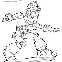 Coloriage Dan sur son surf Team Actimel