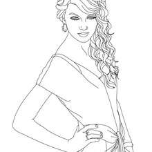 Pose de TAYLOR SWIFT - Coloriage - Coloriage DE STARS - Coloriage TAYLOR SWIFT
