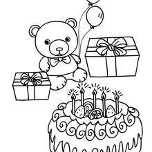 Coloriage Ourson anniversaire gâteau