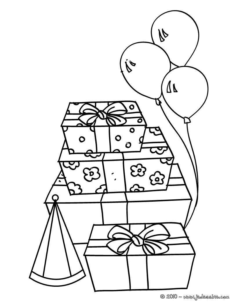Coloriages cadeaux d 39 anniversaire colorier fr - Dessin de cadeau ...