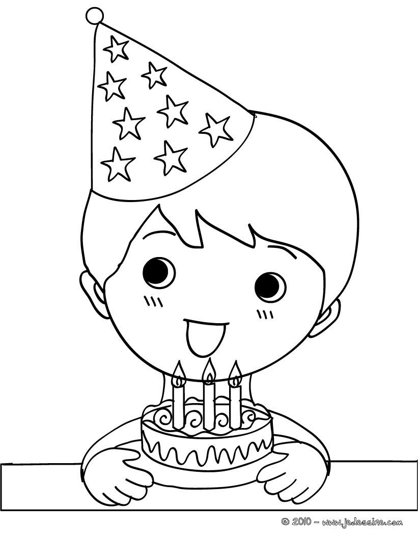 Coloriage gar§on et son g¢teau d anniversaire