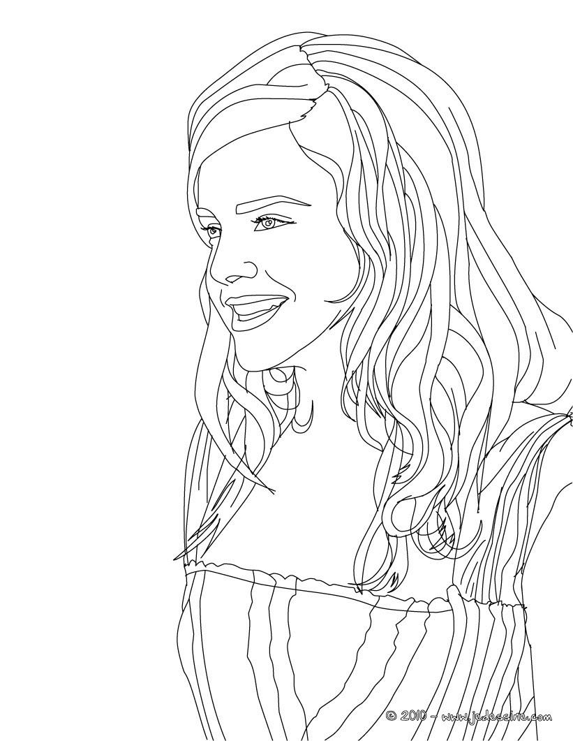 Coloriage : Emma Watson Profil à imprimer