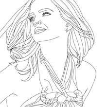 Coloriage Emma Watson cheveux au vent