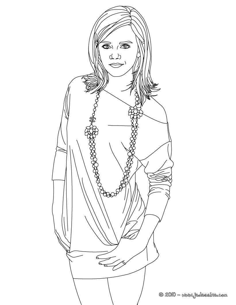 Coloriages colorier emma watson collier - Coloriage chica vampiro ...