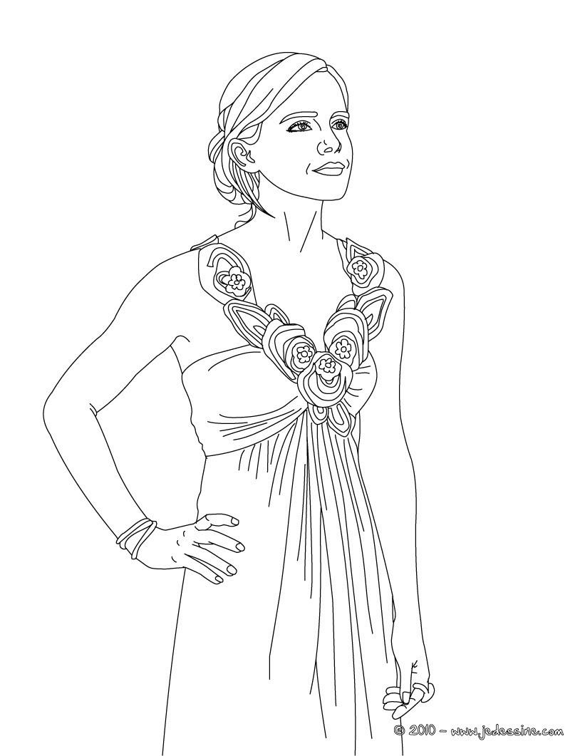 Coloriage Emma Watson baguette magique Emma Watson belle robe  imprimer Coloriage Coloriage DE STARS Coloriage EMMA WATSON