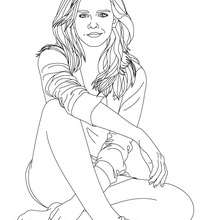 Coloriage Emma Watson assise - Coloriage - Coloriage DE STARS - Coloriage EMMA WATSON