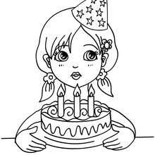Coloriage fillette et son gâteau d'anniversaire