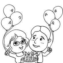 Coloriage parents et son gâteau d'anniversaire