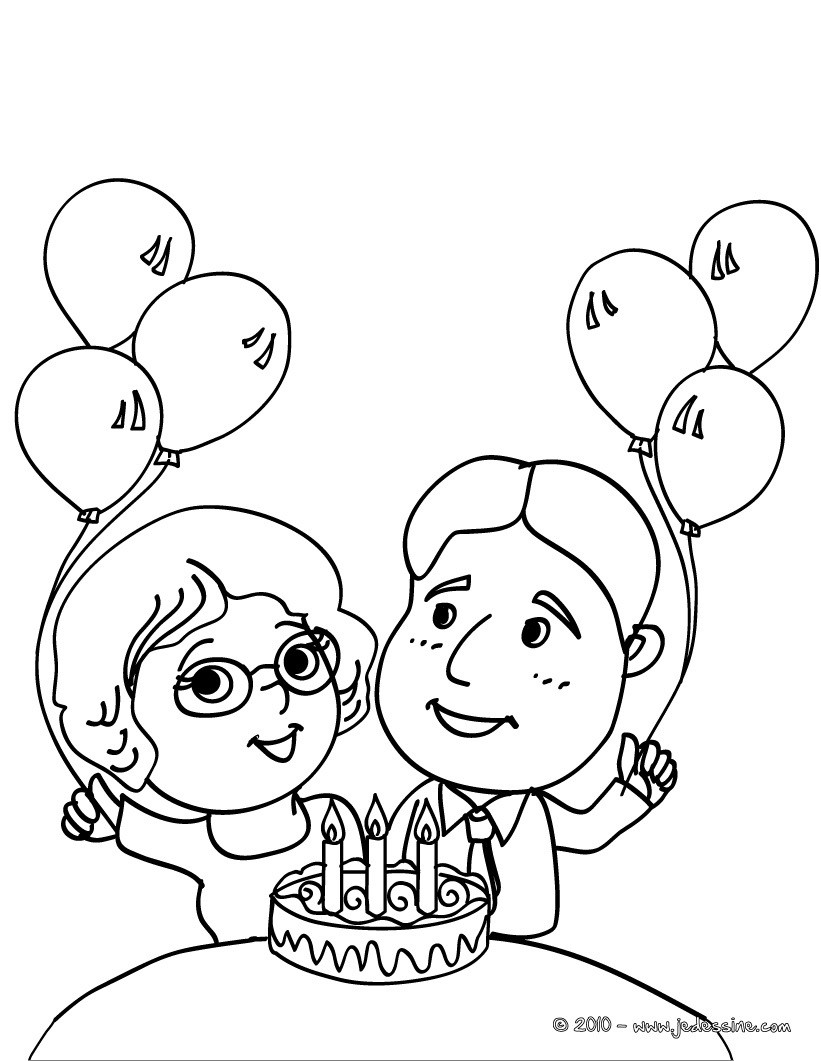 Coloriage parents et son g¢teau d anniversaire