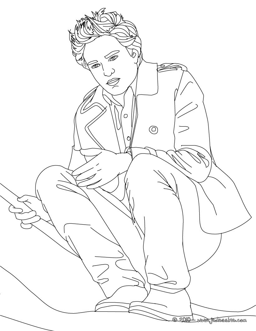 Coloriage Robert Pattinson assis