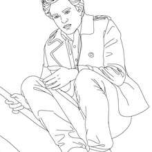 Coloriage Robert Pattinson assis - Coloriage - Coloriage DE STARS - Coloriage ROBERT PATTINSON