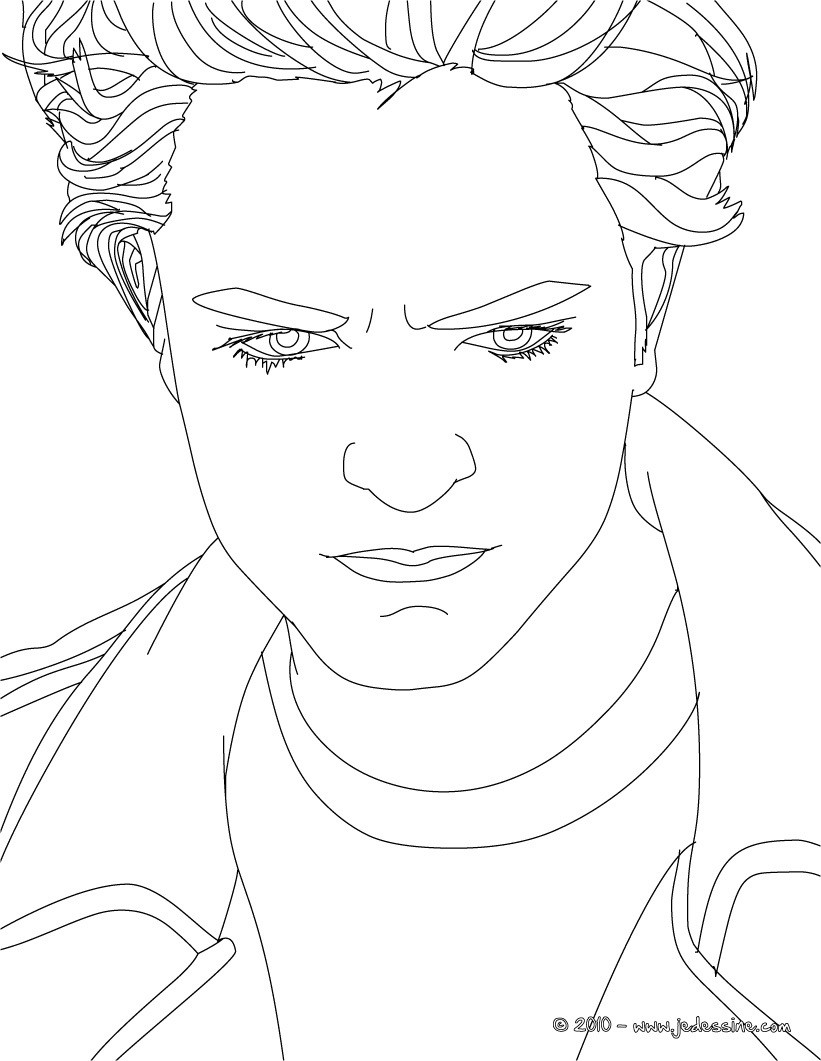 Coloriage regard Robert Pattinson
